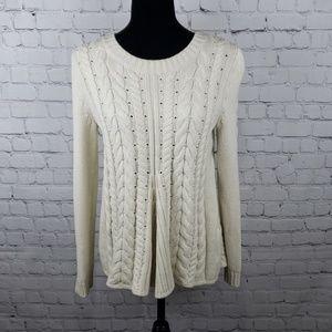 Cabi Lace Up Back Knit Sweater